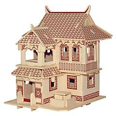 baratos -Quebra-cabeças Quebra-Cabeças de Madeira Blocos de construção Brinquedos Faça Você Mesmo Construções Famosas Arquitetura Chinesa Casa 1
