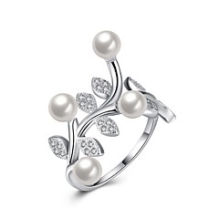 Ring Wedding Party Special Occasion Daily Casual Jewelry Sterling Silver Imitation Pearl Zircon Ring 1pc,8 Silver