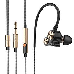 billiga Hörlurar med öronsnäckor-DZAT DT-05 I öra Kabel Hörlurar Dynamisk Aluminum Alloy Mobiltelefon Hörlur Ljudisolerande mikrofon Med volymkontroll Dual Drivers headset
