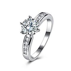 Yüzükler Özel Anlar Günlük Mücevher Zirkon Bakır Gümüş Kaplama Nişan yüzüğü Yüzük 1pc,6 7 8 9 Gümüş