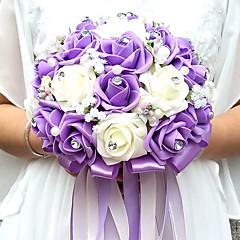 Flori de Nuntă Rotund Trandafiri Buchete Nuntă Petrecere / Seară Satin Mărgea Spumă Ștras