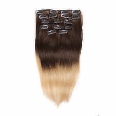 Χαμηλού Κόστους Deluxe Hair-Κουμπωτό Επεκτάσεις ανθρώπινα μαλλιών Ίσιο Εξτένσιον από Ανθρώπινη Τρίχα Φυσικά μαλλιά Γυναικεία