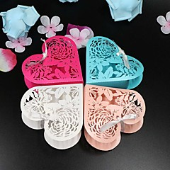 Heart-shaped Pearl Paper Favor Holder With Ribbons Favor Boxes-50