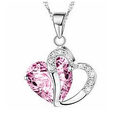 voordelige Kettingen-Dames Meisjes Hart Synthetische Diamant Hangertjes ketting  -  Liefde Hart Paars Rood Roze Kettingen Voor Kerstcadeaus Feest Speciale