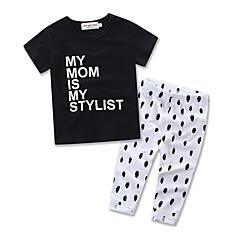 billige Tøjsæt til piger-Baby Pige Punkt Fest / I-byen-tøj Galakse Trykt mønster Kortærmet Bomuld Tøjsæt