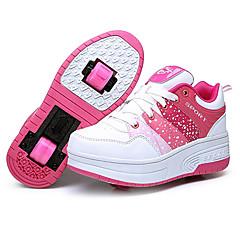 여성용 아동 어른' 스케이트 신발 안티 슬립 반대로 동요 내구성 조절 가능 통합 / 이동식 경량 ABEC-7 - 블루/핑크