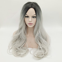 cheap Synthetic Wigs-Synthetic Wig Body Wave Middle Part Synthetic Hair Heat Resistant / For Black Women Black Grey Ombre Wig Women's Long Black Wig Capless