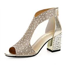 halpa Naisten sandaalit-Naisten Crystal Sandals PU Kevät Comfort Sandaalit Tasapohja Kulta / Hopea / EU39
