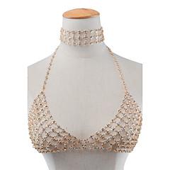 Dame Kort halskæde Rhinsten Smykker Rhinsten Personaliseret Euro-Amerikansk Guld Sølv Smykker For Daglig Afslappet 1 Stk.