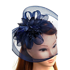 cheap Party Headpieces-Tulle Feather Net Fascinators Hats Headwear Birdcage Veils with Floral 1pc Wedding Special Occasion Headpiece