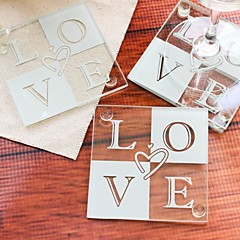 LOVE Glass Coasters Wedding Party Decoration (1pcs) Wedding Favors