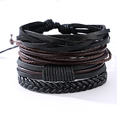 Men's Leather Bracelet Vintage Punk Leather Round Jewelry For Anniversary Gift Sports Valentine