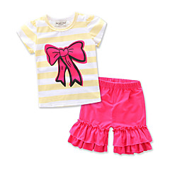 billige Tøjsæt til piger-Baby Pige Rosette / Stribet I-byen-tøj Stribet Trykt mønster Kortærmet Bomuld Tøjsæt