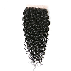 cheap Closure & Frontal-Brazilian Classic Kinky Curly 4x4 Closure Swiss Lace Human Hair Free Part Middle Part 3 Part High Quality Daily