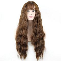 billiga Peruker och hårförlängning-Syntetiska peruker Vågigt Med lugg Syntetiskt hår Brun Peruk Dam Lång Monofilament / L-formad hätta / hälften Capless Beige / Utan lock
