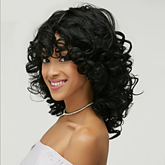 cheap Wigs & Hair Pieces-Synthetic Wig Wavy With Bangs Synthetic Hair Side Part / African American Wig Black Wig Women's Medium Length Capless