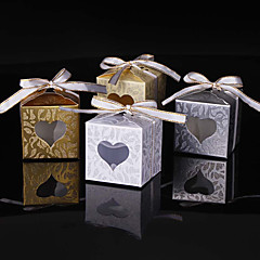 cheap Favor Holders-Cubic Card Paper Favor Holder with Sparkling Glitter Ribbon Tie Favor Boxes - 25