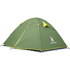 billige Telt og ly-3 person Telt Utendørs Vindtett, Vanntett, Regn-sikker Dobbelt Lagdelt camping Tent 2000-3000 mm til Fisking Vandring Camping Oxford