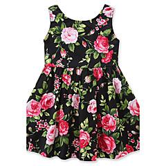 baratos Roupas de Meninas-Menina de Vestido Floral Moderno Verão Algodão Sem Manga Floral Laço Verde