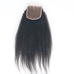 billiga Peruker och hårförlängning-ELVA HAIR Brasilianskt hår 3.5x4 Stängning Klassisk / Kinky Rakt Fria delen / Mittparti / 3 Del Schweizisk spetsperuk Äkta hår Dagligen