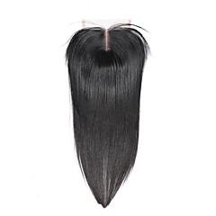billiga Peruker och hårförlängning-ELVA HAIR Brasilianskt hår 3.5x4 Stängning Rak / Klassisk Fria delen / Mittparti / 3 Del Schweizisk spetsperuk Äkta hår Dagligen
