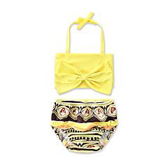 billige Badetøj til piger-Baby Pige Dyretryk / Rosette Geometrisk / Trykt mønster Bomuld Badetøj Gul Datters 110
