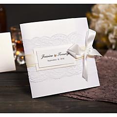 Tri-Dobrado Convites de casamento Cartões de convite Estilo Moderno Papel Acetinado Laço Rendas