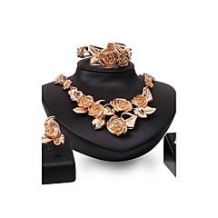 baratos Conjuntos de Bijuteria-Mulheres Conjunto de jóias - Chapeado Dourado Flor Importante, Personalizada, Vintage Incluir Dourado Para Casamento Festa Ocasião Especial / Anéis / Bracelete