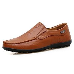 Homens Loafers de conforto Couro / Pele Primavera / Outono Conforto Mocassins e Slip-Ons Preto / Castanho Claro / Castanho Escuro