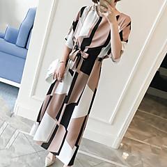 Damen Etuikleid Kleid-Lässig/Alltäglich Arbeit Übergröße Retro Einfach Niedlich Geometrisch Rundhalsausschnitt Maxi Knielang Kurzarm
