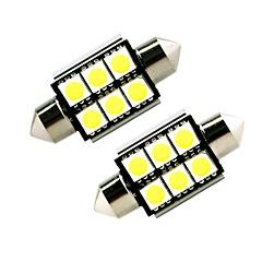 billige Interiørlamper til bil-Ziqiao hvit 41mm 5050 6 smd led c5w bil ledet auto interiør dome dør lyspære vei belysning arbeidslampe (12v / 2pcs)