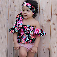 billige Tøjsæt til piger-Baby Pige Blomster / Pænt tøj Blomstret / Helfarve Kortærmet Kort Bomuld Tøjsæt Lyserød