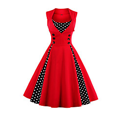 Women's Plus Size Party / Holiday / Going out Vintage / 1950s A Line Dress - Polka Dot Red, Print Wine Light Blue Green XXL XXXL XXXXL