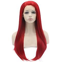 billiga Peruker och hårförlängning-Syntetiska snörning framifrån Rak Syntetiskt hår Naturlig hårlinje Röd Peruk Dam Lång Cosplay Peruk Spetsfront