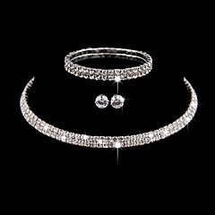Women's Bangles Choker Necklaces Earrings  Cubic Zirconia Silver Simple Elegant Jewelry set Fof Wedding Party