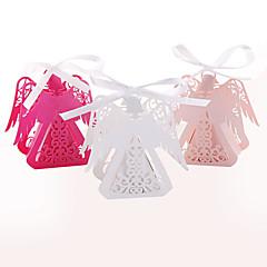 baratos -50pcs adorável anjo laser cortado caixa de doces festa de festa do bebê