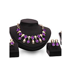 baratos Conjuntos de Bijuteria-Mulheres Conjunto de jóias - Chapeado Dourado Importante, Personalizada, Vintage Incluir Roxo / Azul Para Casamento Festa Ocasião Especial