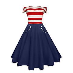 Damen Swing Kleid-Party Ausgehen Retro Gestreift Bateau Übers Knie Ärmellos Baumwolle Sommer Hohe Hüfthöhe Mikro-elastisch Mittel