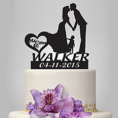 cheap Cake Toppers-Cake Topper Romance Family Wedding Classic Couple Plastic Wedding with 1 Poly Bag
