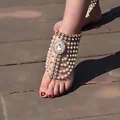 tanie Piercing-Imitacja pereł Sandały Barefoot - Damskie Gold Silver Łańcuszek na kostkę Na Codzienny Casual