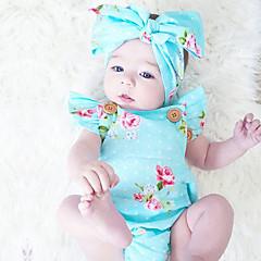 billige Babytøj-Baby Pige Blomster Mode / Vintage Trykt mønster Uden ærmer Bomuld Bodysuit