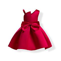 baratos Roupas de Meninas-Menina de Vestido Sólido Verão Algodão Poliéster Sem Manga Laço Azul Vermelho