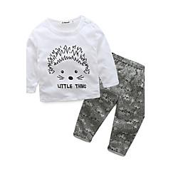 billige Sett med babyklær-Baby Pige Tegneserie / Dyretryk Bomuld / Ferie / I-byen-tøj Dyr / Tegneserie Langærmet Normal 100 % bomuld Tøjsæt Hvid / Afslappet / Hverdag