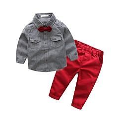 billige Tøjsæt til drenge-Baby Drenge Ensfarvet Langærmet Normal Normal Bomuld / Polyester Tøjsæt Blå