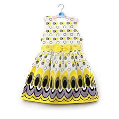 tanie Odzież dla dziewczynek-Brzdąc Dla dziewczynek Aktywny / Słodkie Codzienny Kolorowy blok Łuk / Nadruk Bez rękawów Sukienka Żółty 100