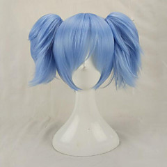 cheap Wigs & Hair Pieces-blue cosplay wigs synthetic hair medium straight costume wig with 2 removeabe ponytails Halloween