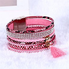 Women's Wrap Bracelet Tassel Bohemian PU Leather Round Jewelry For Wedding Party Engagement Gift Casual Street