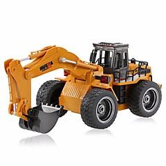 baratos Carros Controle Remoto-Carro com CR HUINA 1530 Canal 6 2.4G Escavadora / Veiculo de Construção 1:18 KM / H Controlo Remoto / Recarregável / Elétrico