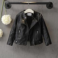 tanie Odzież dla dziewczynek-Brzdąc Dla dziewczynek Solidne kolory Długi rękaw Regularny PU Kurtka / płaszcz Czarny 100