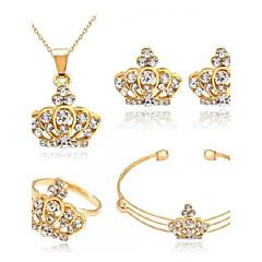 baratos Conjuntos de Bijuteria-Mulheres Conjunto de jóias - Coroa Fashion, Euramerican Incluir Dourado Para Festa / Diário